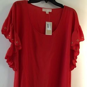 NWT Michael by Michael Kors red poppy flutter 2X